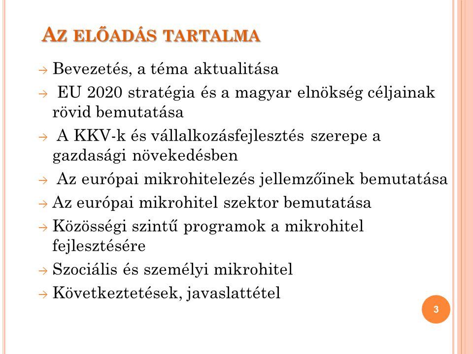 A Z ELŐADÁS TARTALMA → Bevezetés, a téma aktualitása → EU 2020 stratégia és a magyar elnökség céljainak rövid bemutatása → A KKV-k és vállalkozásfejlesztés szerepe a gazdasági növekedésben → Az európai mikrohitelezés jellemzőinek bemutatása → Az európai mikrohitel szektor bemutatása → Közösségi szintű programok a mikrohitel fejlesztésére → Szociális és személyi mikrohitel → Következtetések, javaslattétel 3