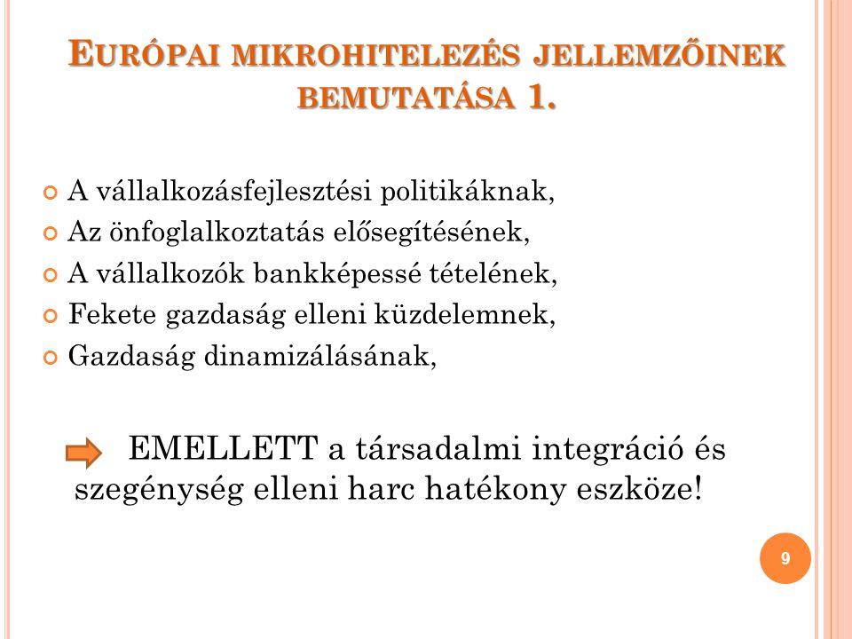E URÓPAI MIKROHITELEZÉS JELLEMZŐINEK BEMUTATÁSA 1.