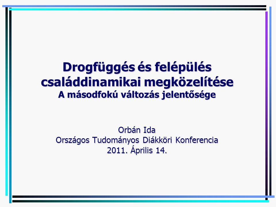 Drogfüggés és felépülés családdinamikai megközelítése A másodfokú változás jelentősége Orbán Ida Országos Tudományos Diákköri Konferencia 2011.