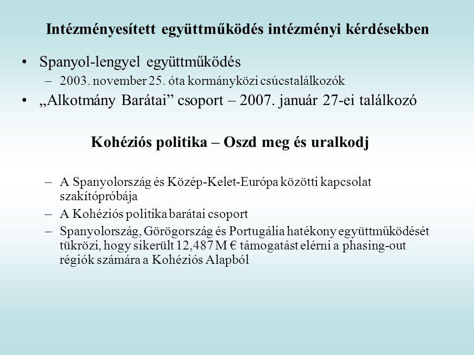 """Intézményesített együttműködés intézményi kérdésekben Spanyol-lengyel együttműködés –2003. november 25. óta kormányközi csúcstalálkozók """"Alkotmány Bar"""