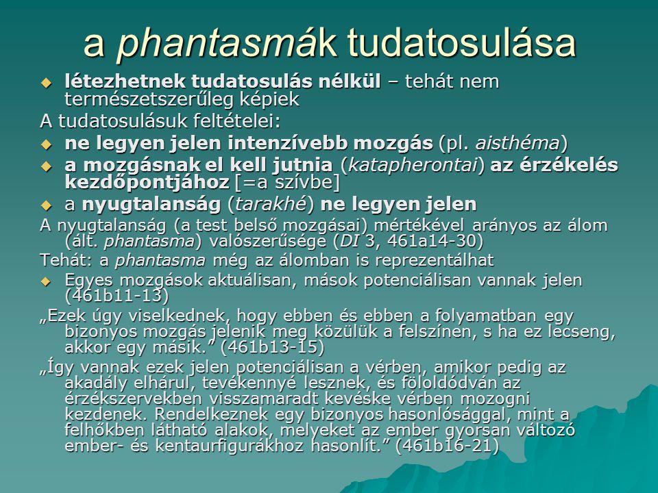 a phantasmák tudatosulása  létezhetnek tudatosulás nélkül – tehát nem természetszerűleg képiek A tudatosulásuk feltételei:  ne legyen jelen intenzívebb mozgás (pl.