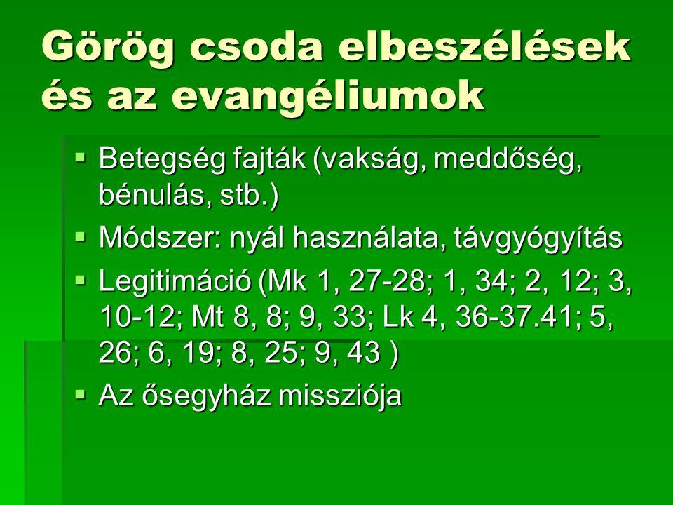 Görög csoda elbeszélések és az evangéliumok  Betegség fajták (vakság, meddőség, bénulás, stb.)  Módszer: nyál használata, távgyógyítás  Legitimáció (Mk 1, 27-28; 1, 34; 2, 12; 3, 10-12; Mt 8, 8; 9, 33; Lk 4, 36-37.41; 5, 26; 6, 19; 8, 25; 9, 43 )  Az ősegyház missziója