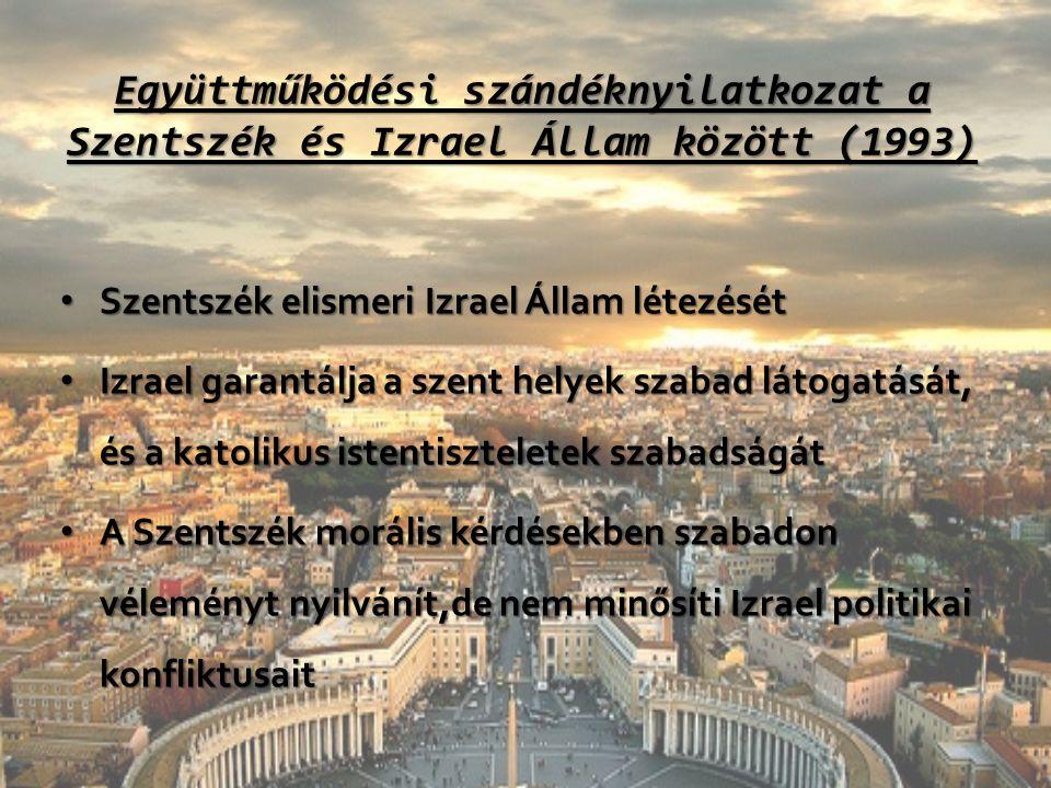 Együttműködési szándéknyilatkozat a Szentszék és Izrael Állam között (1993) Szentszék elismeri Izrael Állam létezését Szentszék elismeri Izrael Állam