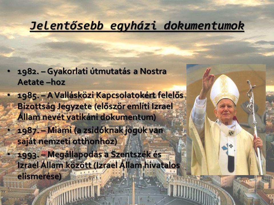 Jelentősebb egyházi dokumentumok 1982. – Gyakorlati útmutatás a Nostra Aetate –hoz 1982. – Gyakorlati útmutatás a Nostra Aetate –hoz 1985. – A Vallásk