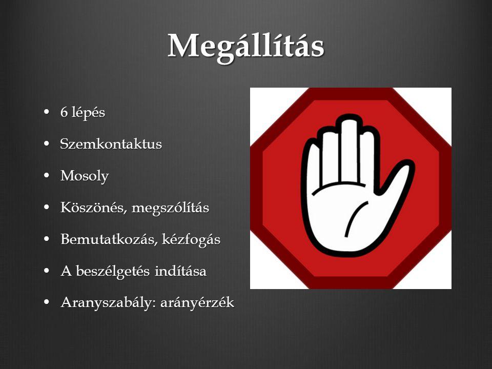 Megállítás 6 lépés6 lépés SzemkontaktusSzemkontaktus MosolyMosoly Köszönés, megszólításKöszönés, megszólítás Bemutatkozás, kézfogásBemutatkozás, kézfogás A beszélgetés indításaA beszélgetés indítása Aranyszabály: arányérzékAranyszabály: arányérzék