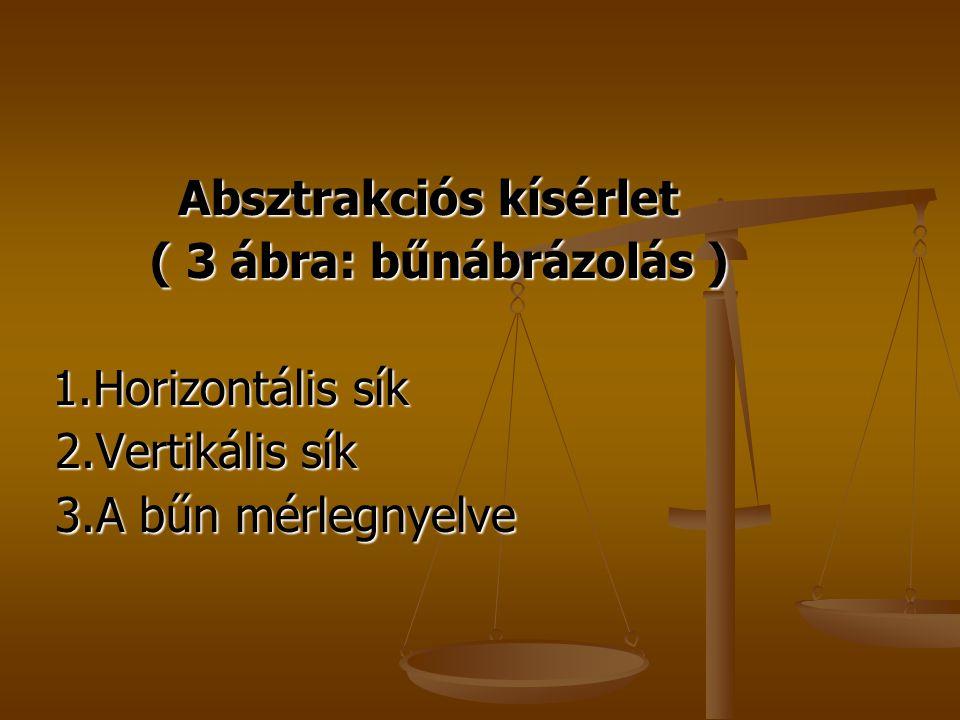 Absztrakciós kísérlet Absztrakciós kísérlet ( 3 ábra: bűnábrázolás ) ( 3 ábra: bűnábrázolás ) 1.Horizontális sík 1.Horizontális sík 2.Vertikális sík 2.Vertikális sík 3.A bűn mérlegnyelve 3.A bűn mérlegnyelve