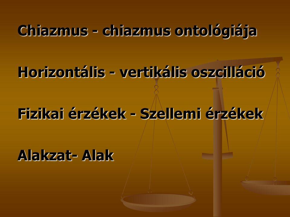Chiazmus - chiazmus ontológiája Horizontális - vertikális oszcilláció Fizikai érzékek - Szellemi érzékek Alakzat- Alak
