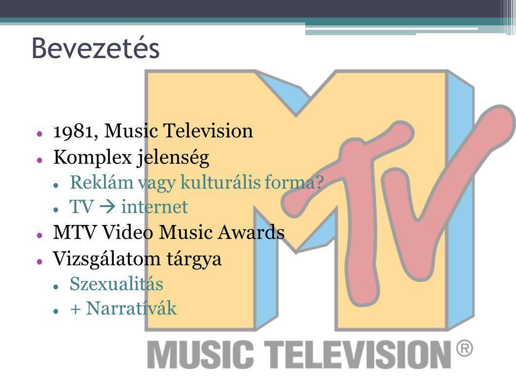 Bevezetés 1981, Music Television Komplex jelenség Reklám vagy kulturális forma? TV  internet MTV Video Music Awards Vizsgálatom tárgya Szexualitás +