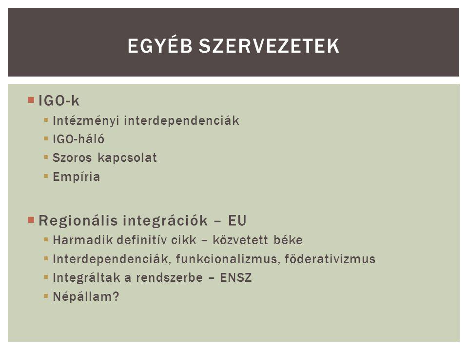  IGO-k  Intézményi interdependenciák  IGO-háló  Szoros kapcsolat  Empíria  Regionális integrációk – EU  Harmadik definitív cikk – közvetett béke  Interdependenciák, funkcionalizmus, föderativizmus  Integráltak a rendszerbe – ENSZ  Népállam.
