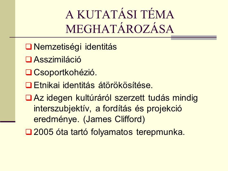 A KUTATÁSI TÉMA MEGHATÁROZÁSA  Nemzetiségi identitás  Asszimiláció  Csoportkohézió.