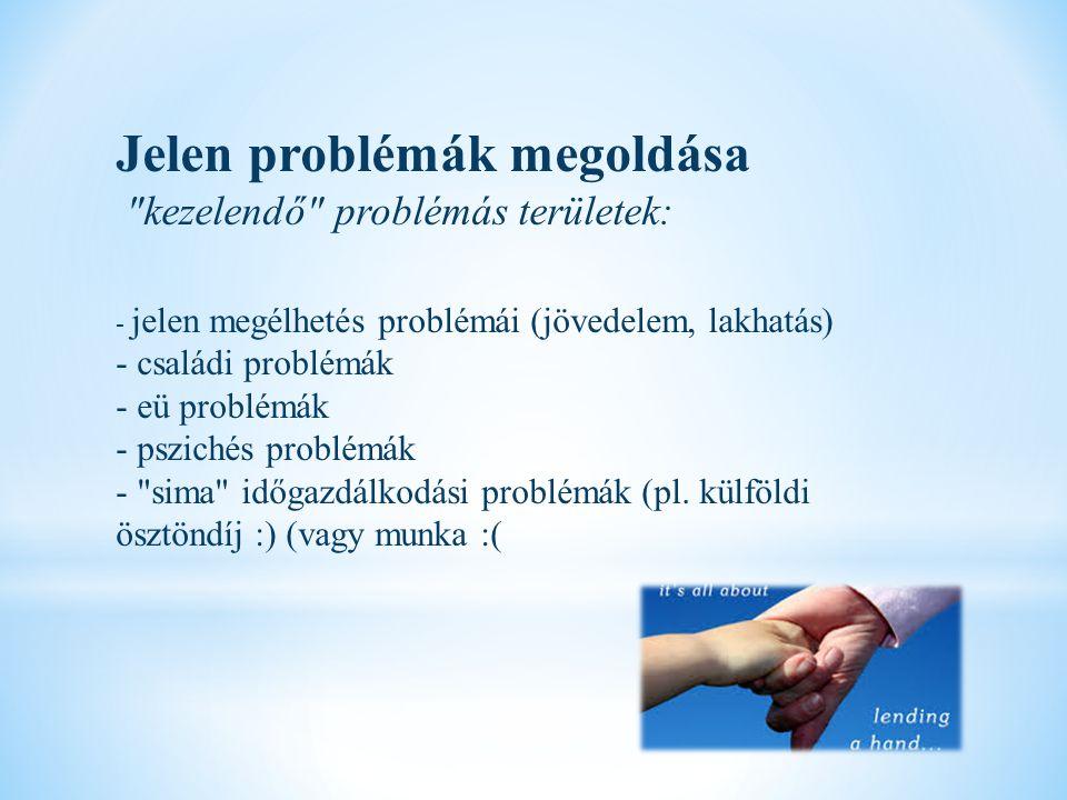 Jelen problémák megoldása kezelendő problémás területek: - jelen megélhetés problémái (jövedelem, lakhatás) - családi problémák - eü problémák - pszichés problémák - sima időgazdálkodási problémák (pl.