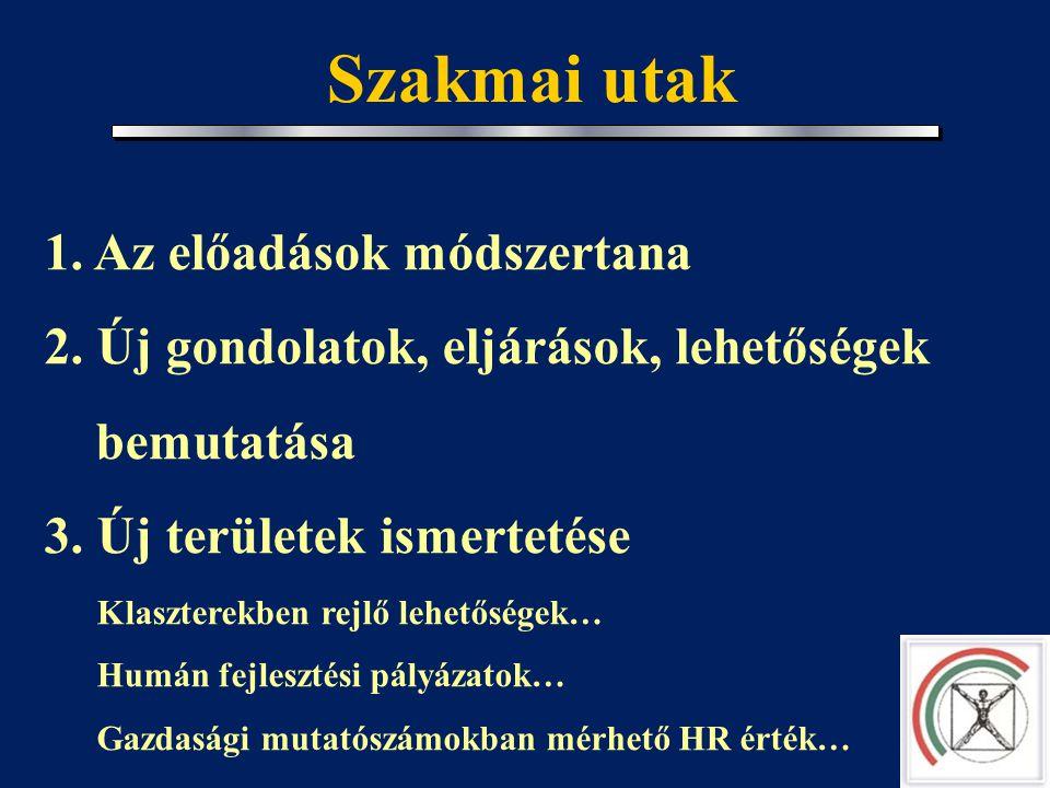 Szegedi klub tervei, elképzelései 1. Országos hálózat kiépítése a szegedi tapasztalatok alapján 2. Résztvevők körének bővítése Versenyszféra HR vezető