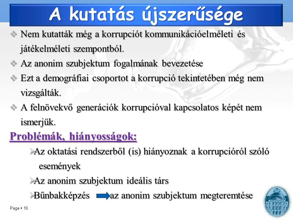 Page  10 A kutatás újszerűsége  Nem kutatták még a korrupciót kommunikációelméleti és játékelméleti szempontból.  Az anonim szubjektum fogalmának b