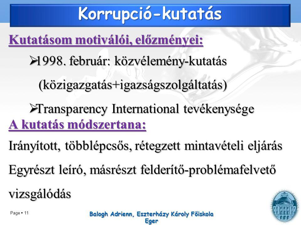 Page  11 Korrupció-kutatás Kutatásom motiválói, előzményei:  1998. február: közvélemény-kutatás (közigazgatás+igazságszolgáltatás)  Transparency In