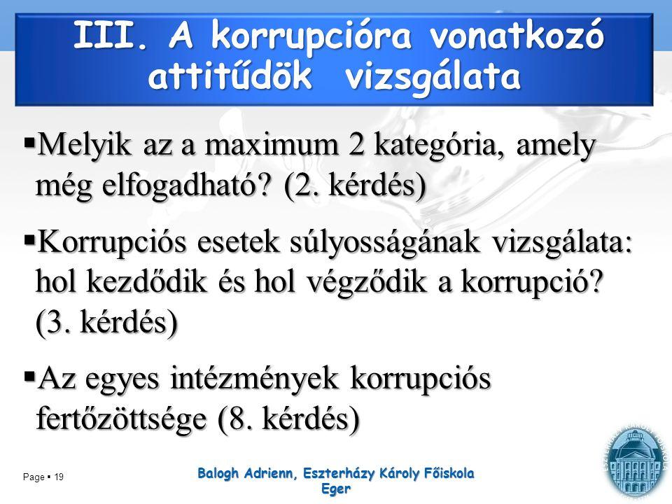 Page  19 III. A korrupcióra vonatkozó attitűdök vizsgálata  Melyik az a maximum 2 kategória, amely még elfogadható? (2. kérdés)  Korrupciós esetek
