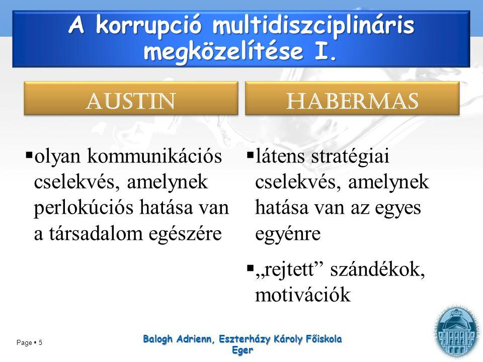 Page  5 A korrupció multidiszciplináris megközelítése I. AUSTIN  olyan kommunikációs cselekvés, amelynek perlokúciós hatása van a társadalom egészér