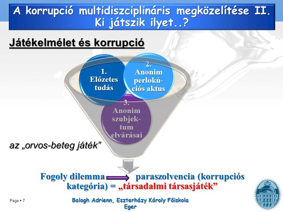 """Page  7 A korrupció multidiszciplináris megközelítése II. Ki játszik ilyet..? Játékelmélet és korrupció az """"orvos-beteg játék"""" Balogh Adrienn, Eszter"""