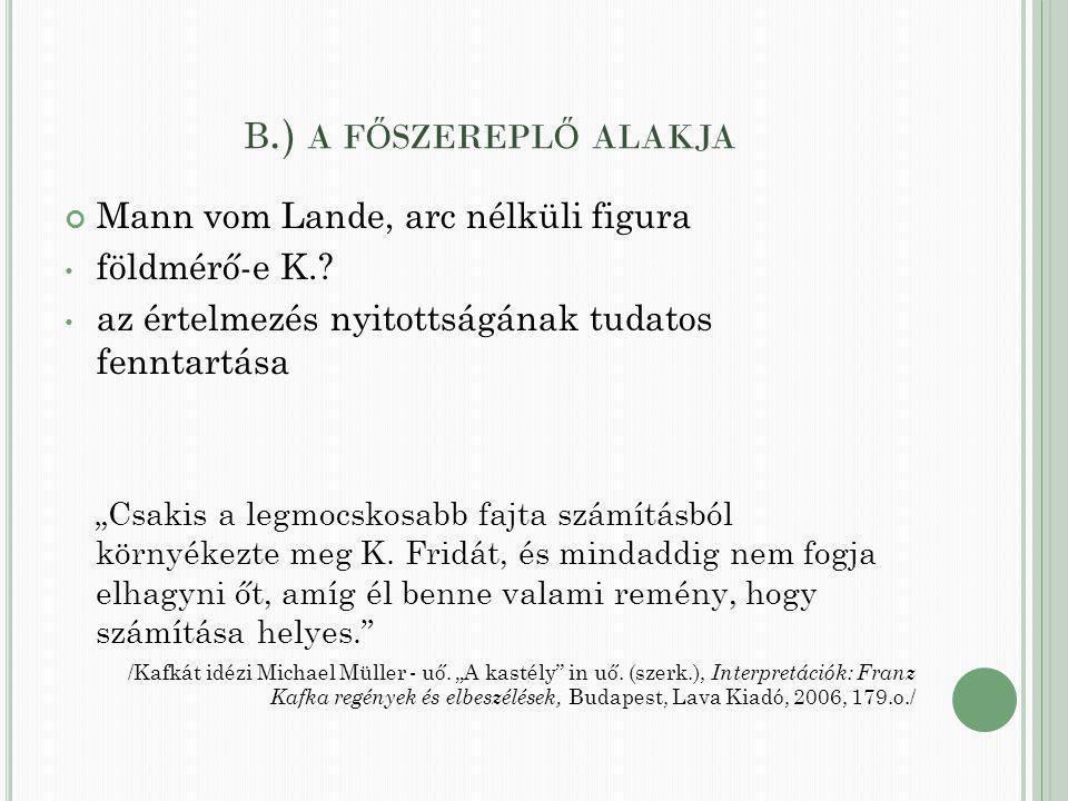 B.) A F Ő SZEREPL Ő ALAKJA Mann vom Lande, arc nélküli figura földmérő-e K..