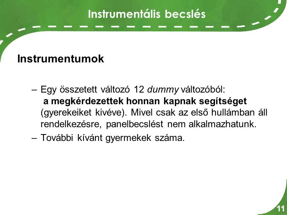Instrumentális becslés Instrumentumok –Egy összetett változó 12 dummy változóból: a megkérdezettek honnan kapnak segítséget (gyerekeiket kivéve).