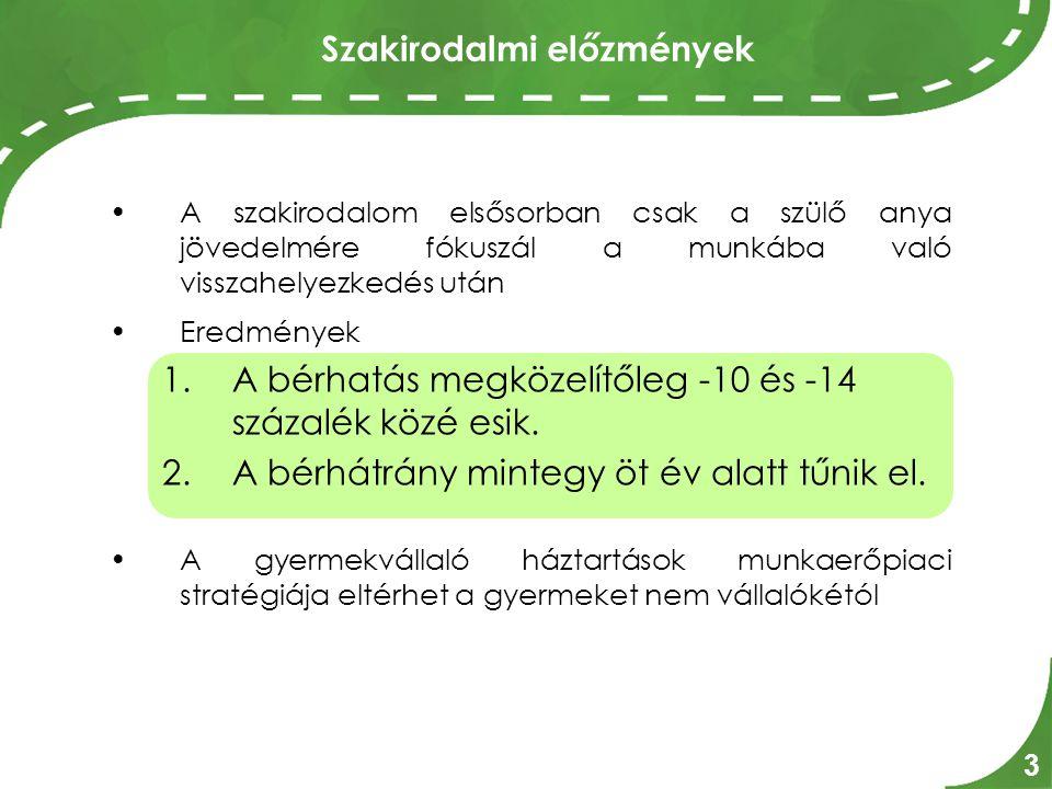 Magyar adatok 4 Magyarországon 1997-2005 között a szülő nők átlagosan 4,7 évig voltak távol a munkaerőpiacról, s részesültek ezalatt valamilyen gyermeknevelési támogatási formában.