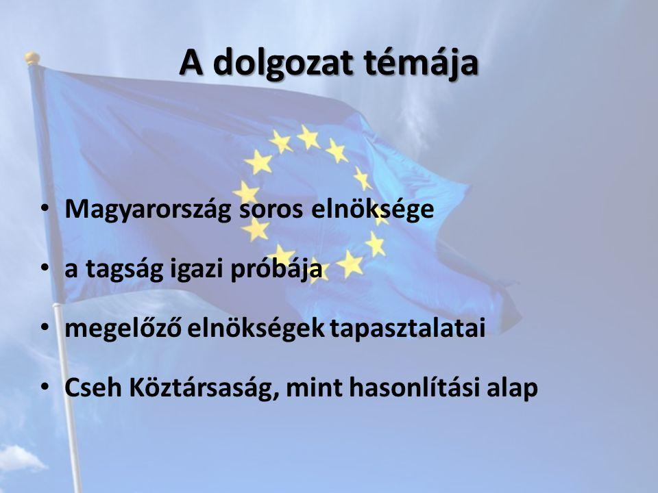 A dolgozat témája Magyarország soros elnöksége a tagság igazi próbája megelőző elnökségek tapasztalatai Cseh Köztársaság, mint hasonlítási alap