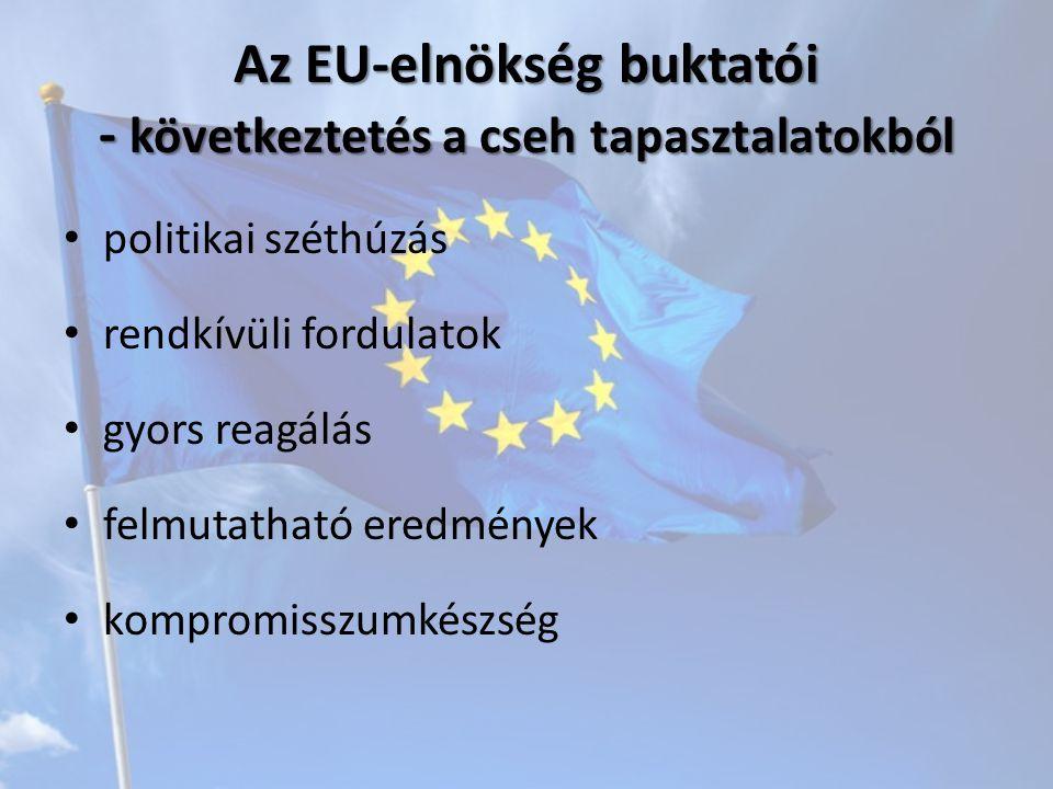Az EU-elnökség buktatói - következtetés a cseh tapasztalatokból politikai széthúzás rendkívüli fordulatok gyors reagálás felmutatható eredmények kompromisszumkészség