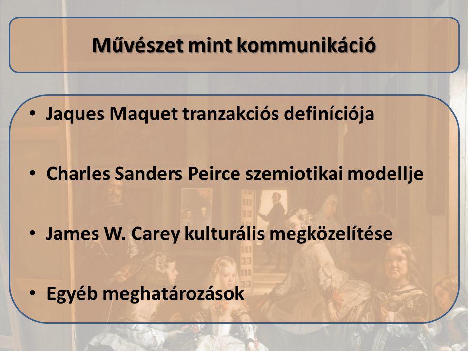 Jaques Maquet tranzakciós definíciója Charles Sanders Peirce szemiotikai modellje James W. Carey kulturális megközelítése Egyéb meghatározások Művésze