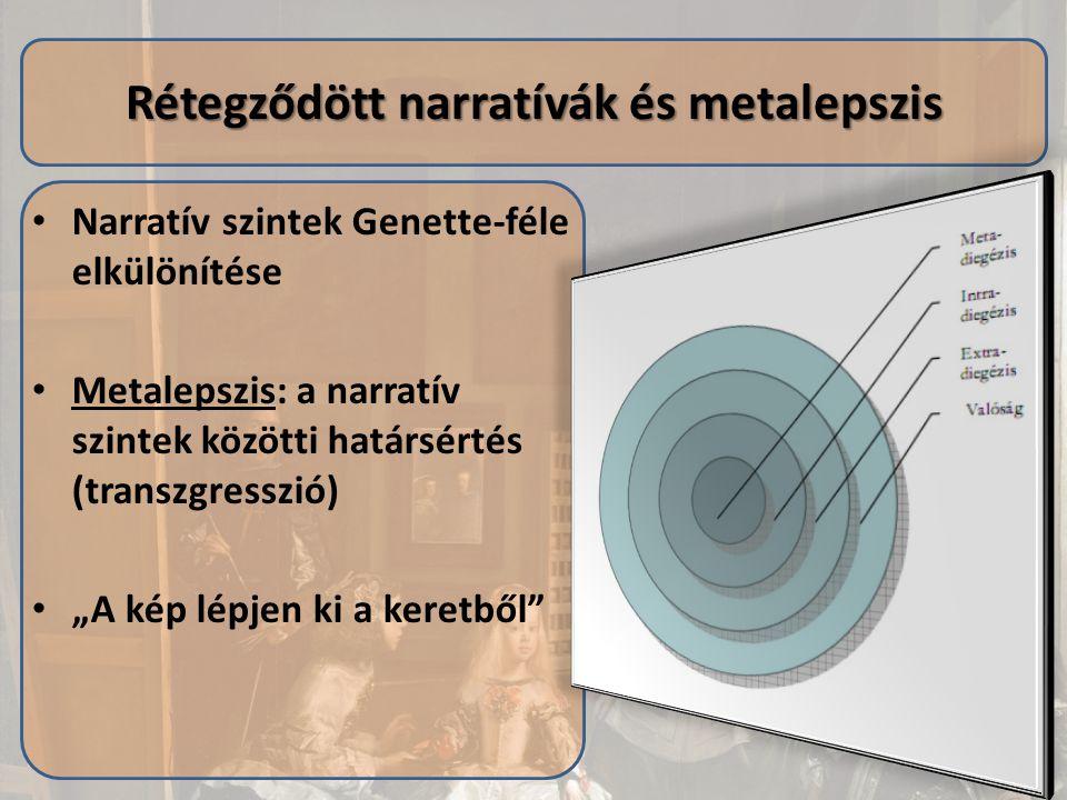 """Narratív szintek Genette-féle elkülönítése Metalepszis: a narratív szintek közötti határsértés (transzgresszió) """"A kép lépjen ki a keretből"""" Rétegződö"""
