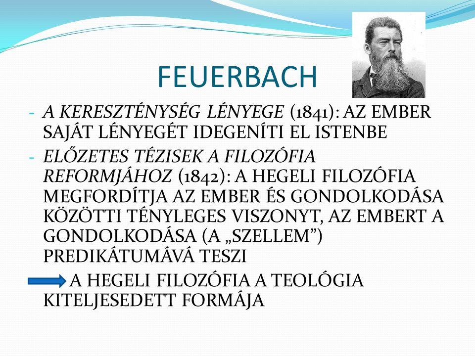 FEUERBACH - A KERESZTÉNYSÉG LÉNYEGE (1841): AZ EMBER SAJÁT LÉNYEGÉT IDEGENÍTI EL ISTENBE - ELŐZETES TÉZISEK A FILOZÓFIA REFORMJÁHOZ (1842): A HEGELI F