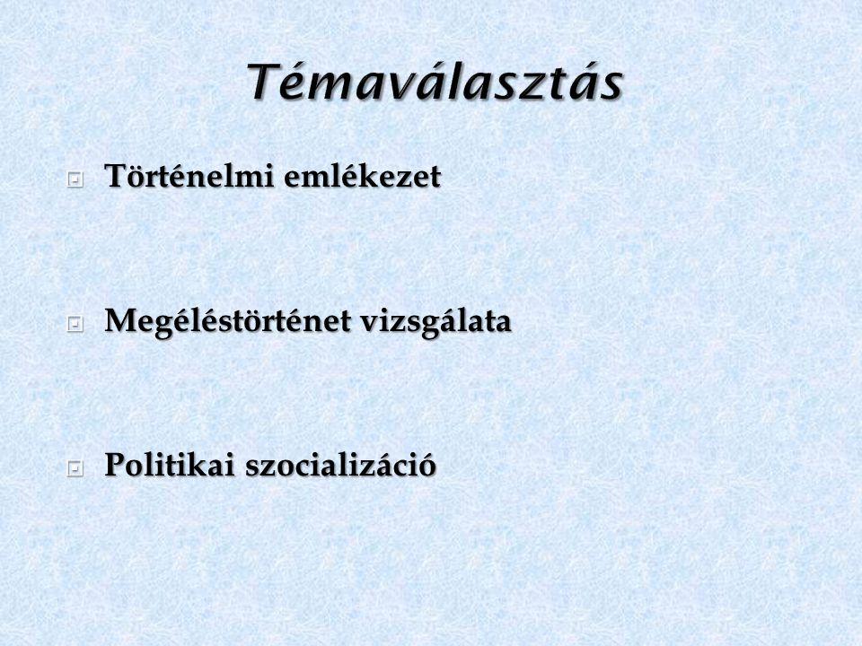  Történelmi emlékezet  Megéléstörténet vizsgálata  Politikai szocializáció