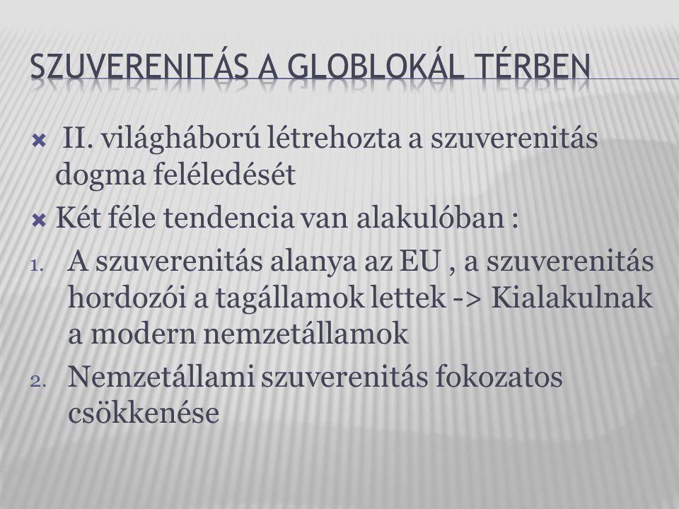  II. világháború létrehozta a szuverenitás dogma feléledését  Két féle tendencia van alakulóban : 1. A szuverenitás alanya az EU, a szuverenitás hor