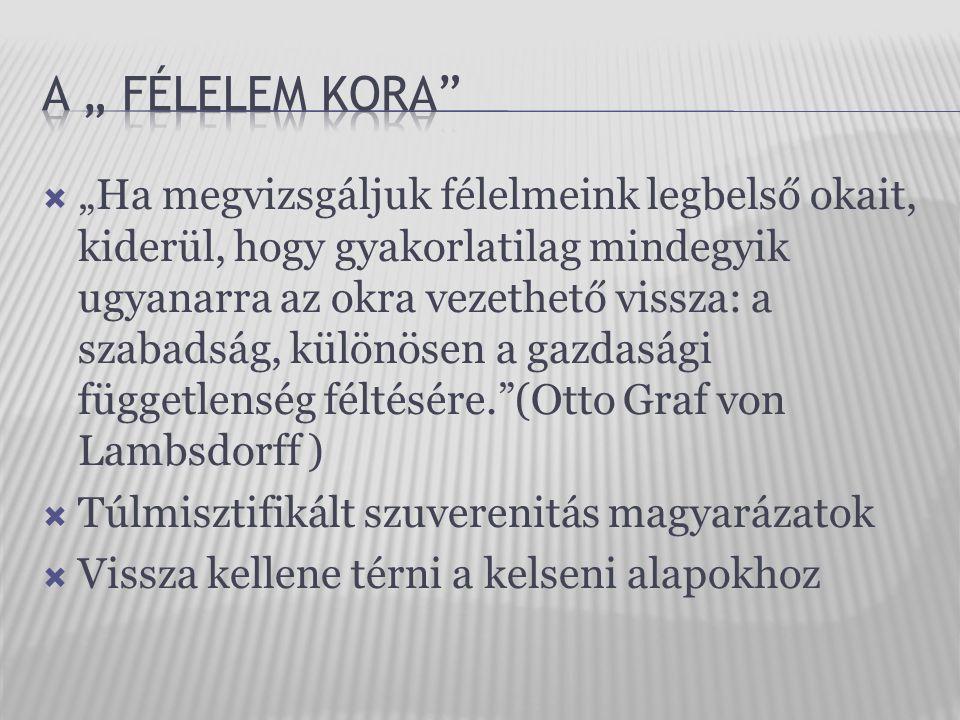 """ """"Ha megvizsgáljuk félelmeink legbelső okait, kiderül, hogy gyakorlatilag mindegyik ugyanarra az okra vezethető vissza: a szabadság, különösen a gazdasági függetlenség féltésére. (Otto Graf von Lambsdorff )  Túlmisztifikált szuverenitás magyarázatok  Vissza kellene térni a kelseni alapokhoz"""
