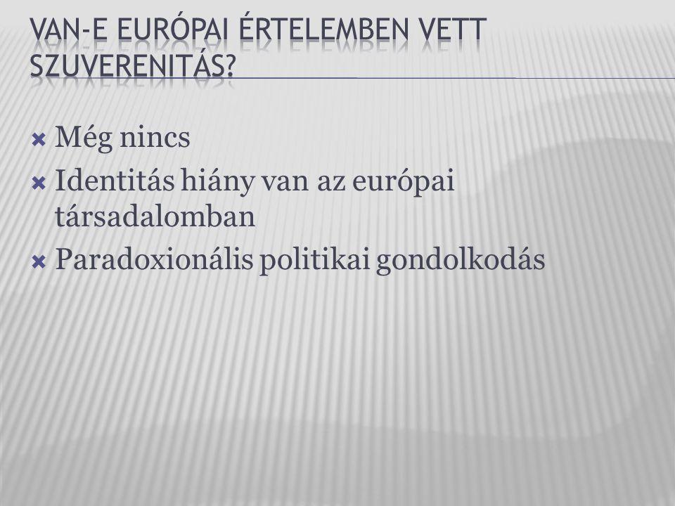  Még nincs  Identitás hiány van az európai társadalomban  Paradoxionális politikai gondolkodás