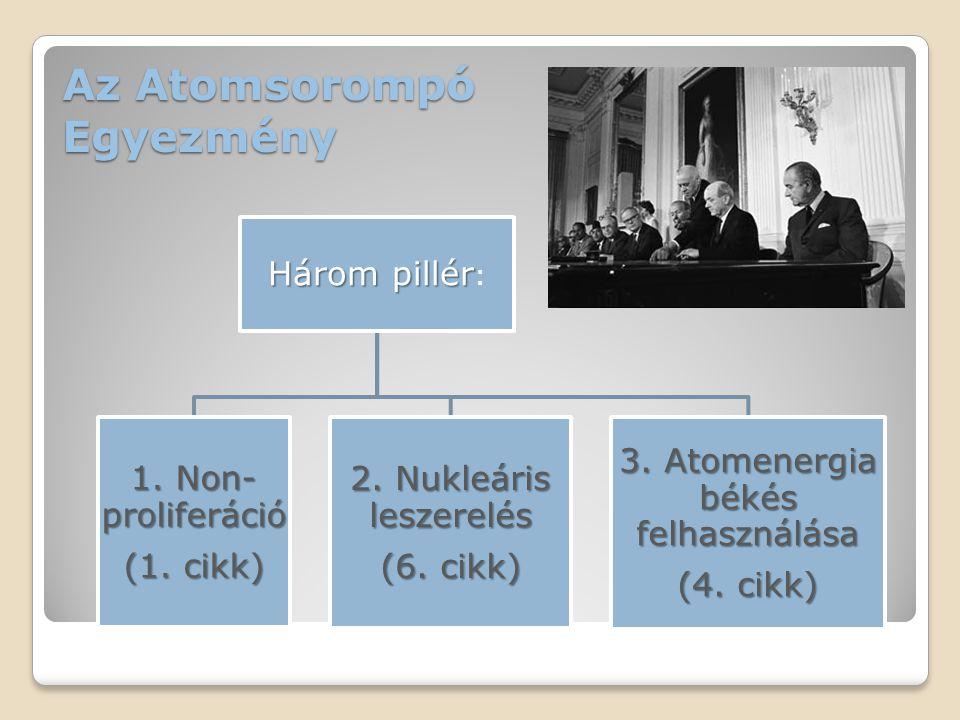 Az Atomsorompó Egyezmény Három pillér Három pillér : 1. Non- proliferáció (1. cikk) 2. Nukleáris leszerelés (6. cikk) 3. Atomenergia békés felhasználá