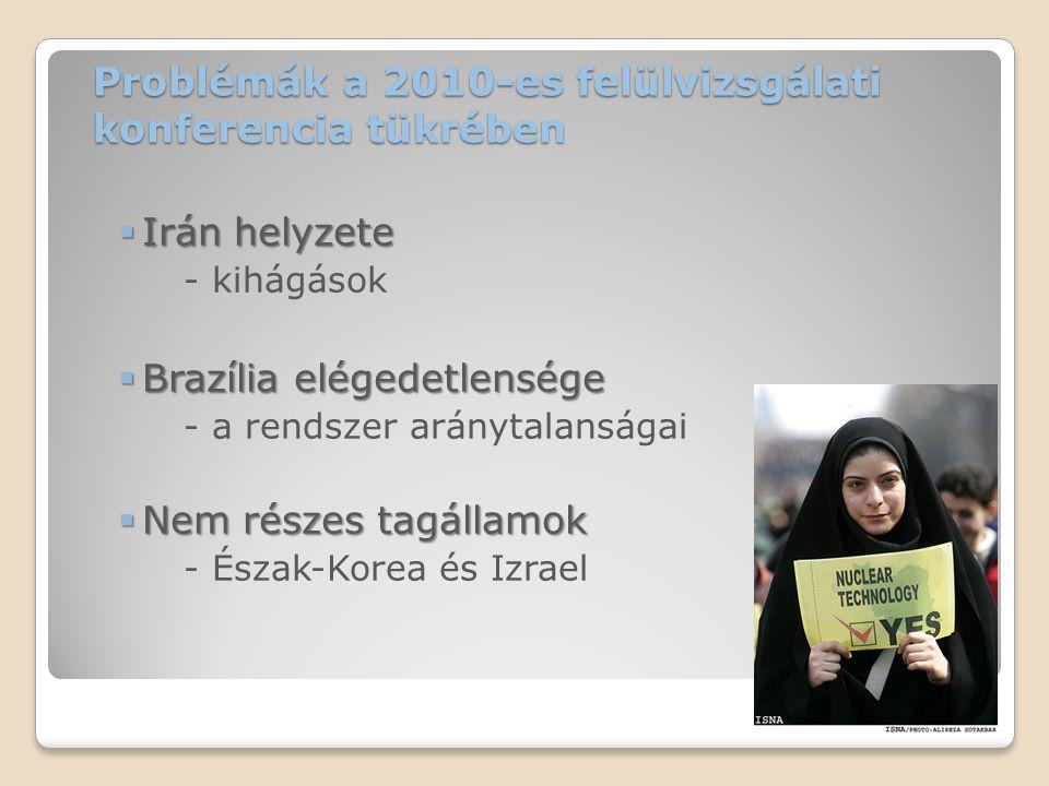 A közel-keleti nukleáris fegyvermentes övezet – megvalósítása, akadályai A közel-keleti nukleáris fegyvermentes övezet – megvalósítása, akadályai 1995-ben felmerül a kérdés Határozat elfogadása (USA, UK, Oroszo.) 2010-es felülvizsgálat: ismét felmerül ◦Záródokumentum ◦Akcióterv ◦Konferencia: 2012 ◦Közvetítő megválasztása Akadály: Izrael