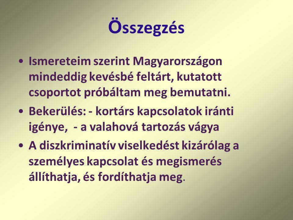 Ö sszegzés Ismereteim szerint Magyarországon mindeddig kevésbé feltárt, kutatott csoportot próbáltam meg bemutatni.
