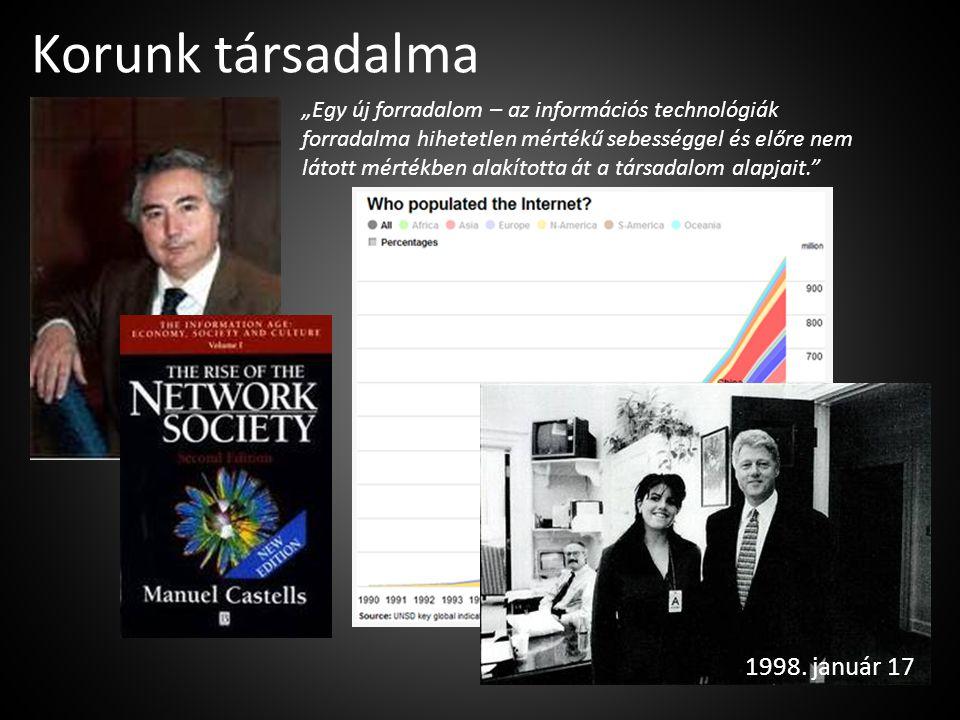 """Korunk társadalma """"Egy új forradalom – az információs technológiák forradalma hihetetlen mértékű sebességgel és előre nem látott mértékben alakította"""