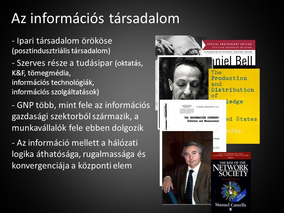 Az információs társadalom - Ipari társadalom örököse (posztindusztriális társadalom) - Szerves része a tudásipar (oktatás, K&F, tömegmédia, információ