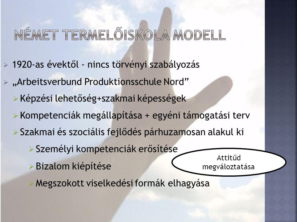 """ 1920-as évektől - nincs törvényi szabályozás  """"Arbeitsverbund Produktionsschule Nord  Képzési lehetőség+szakmai képességek  Kompetenciák megállapítása + egyéni támogatási terv  Szakmai és szociális fejlődés párhuzamosan alakul ki  Személyi kompetenciák erősítése  Bizalom kiépítése  Megszokott viselkedési formák elhagyása Attitűd megváloztatása"""