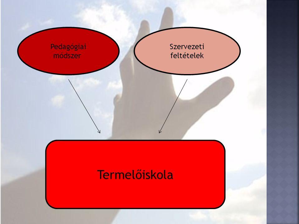 Pedagógiai módszer Szervezeti feltételek Termelőiskola