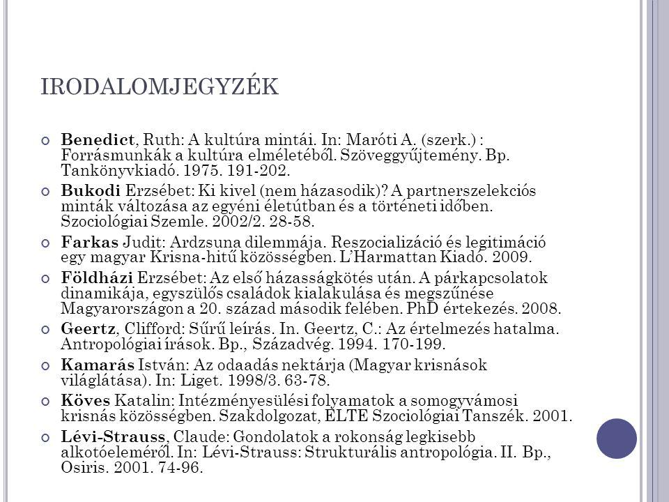 IRODALOMJEGYZÉK Benedict, Ruth: A kultúra mintái. In: Maróti A. (szerk.) : Forrásmunkák a kultúra elméletéből. Szöveggyűjtemény. Bp. Tankönyvkiadó. 19