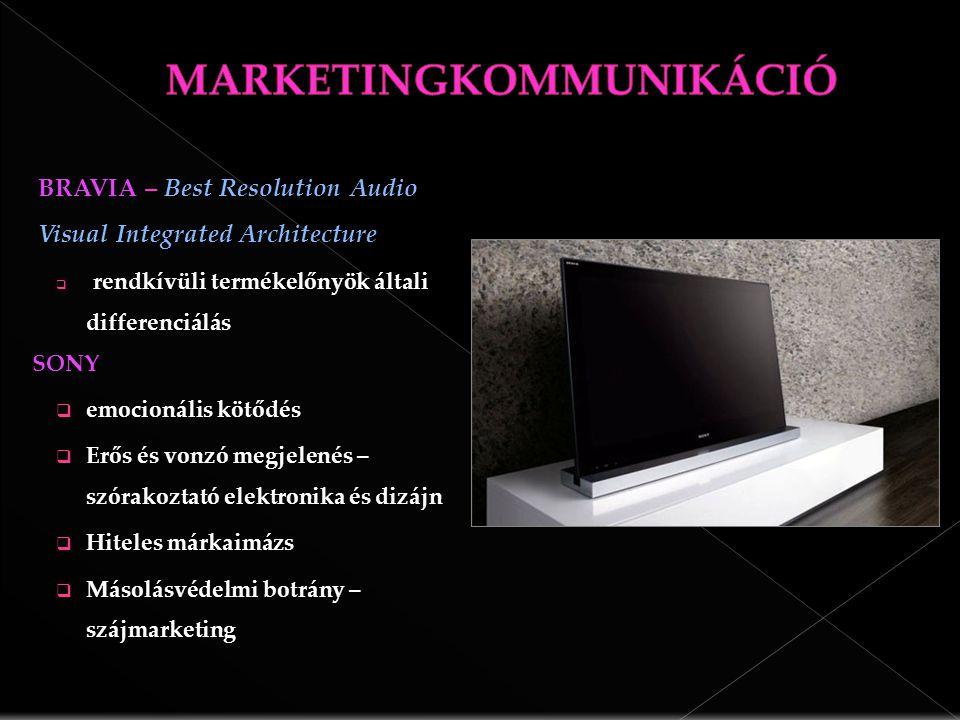 BRAVIA – Best Resolution Audio Visual Integrated Architecture rendkívüli termékelőnyök általi differenciálás  rendkívüli termékelőnyök általi differenciálásSONY  emocionális kötődés  Erős és vonzó megjelenés – szórakoztató elektronika és dizájn  Hiteles márkaimázs  Másolásvédelmi botrány – szájmarketing