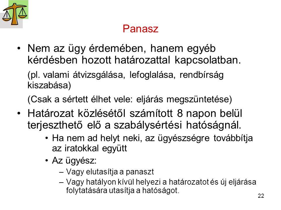 22 Panasz Nem az ügy érdemében, hanem egyéb kérdésben hozott határozattal kapcsolatban. (pl. valami átvizsgálása, lefoglalása, rendbírság kiszabása) (