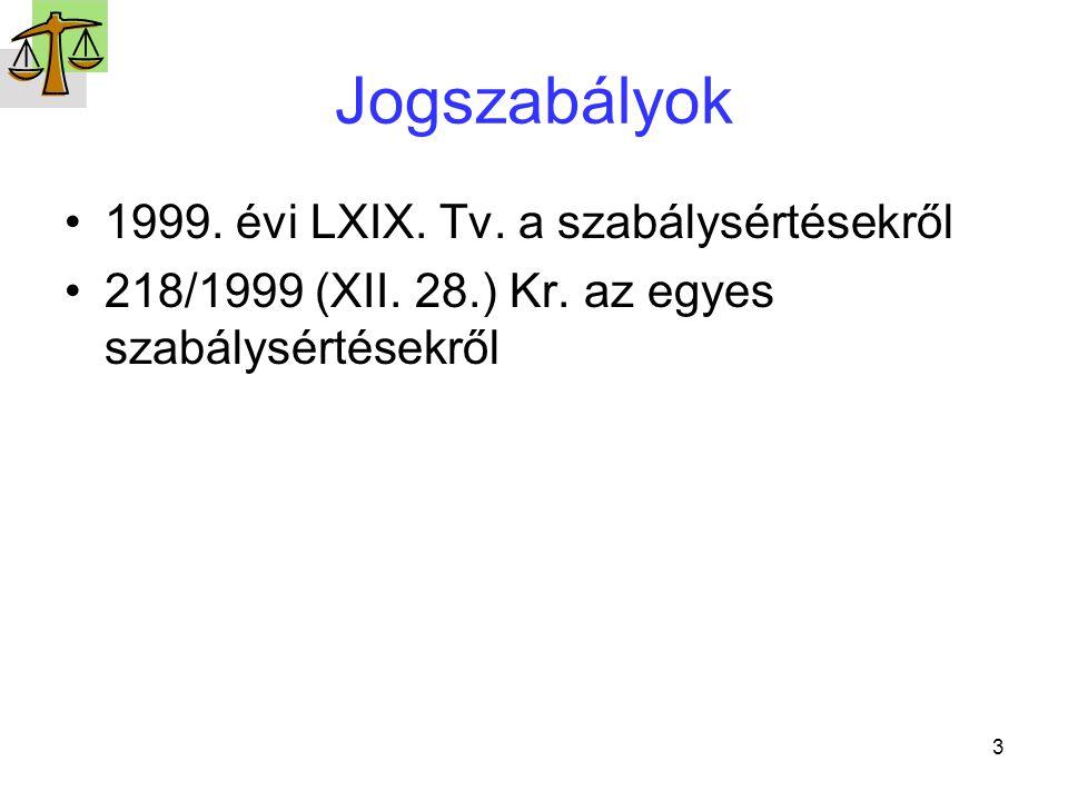 3 Jogszabályok 1999. évi LXIX. Tv. a szabálysértésekről 218/1999 (XII. 28.) Kr. az egyes szabálysértésekről