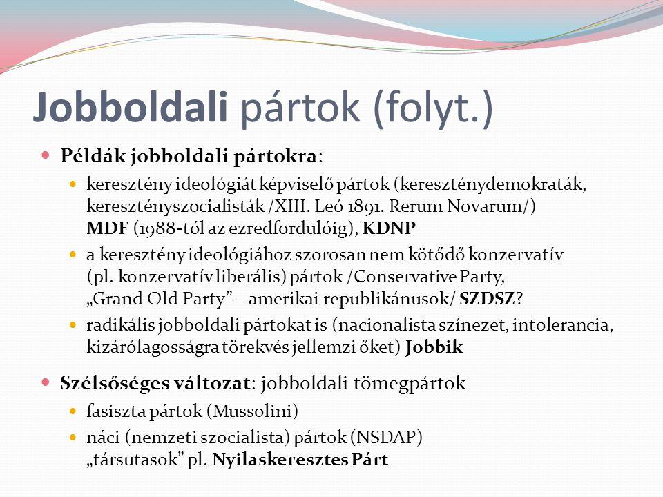 Jobboldali pártok (folyt.) Példák jobboldali pártokra: keresztény ideológiát képviselő pártok (kereszténydemokraták, keresztényszocialisták /XIII. Leó