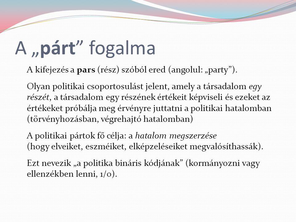 """A """"párt"""" fogalma A kifejezés a pars (rész) szóból ered (angolul: """"party""""). Olyan politikai csoportosulást jelent, amely a társadalom egy részét, a tár"""