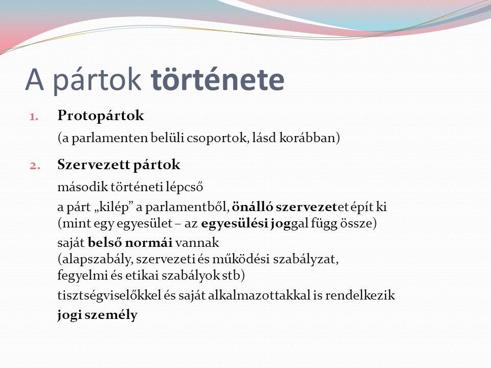 """A pártok története 1. Protopártok (a parlamenten belüli csoportok, lásd korábban) 2. Szervezett pártok második történeti lépcső a párt """"kilép"""" a parla"""