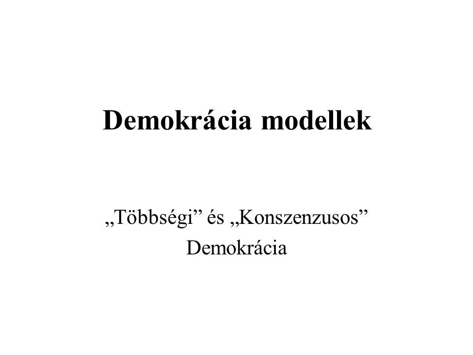 """Demokrácia modellek """"Többségi"""" és """"Konszenzusos"""" Demokrácia"""