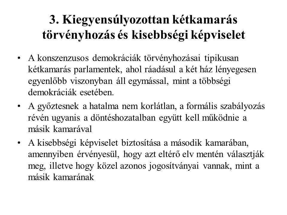 3. Kiegyensúlyozottan kétkamarás törvényhozás és kisebbségi képviselet A konszenzusos demokráciák törvényhozásai tipikusan kétkamarás parlamentek, aho
