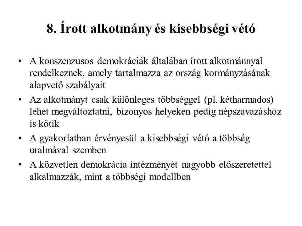 8. Írott alkotmány és kisebbségi vétó A konszenzusos demokráciák általában írott alkotmánnyal rendelkeznek, amely tartalmazza az ország kormányzásának